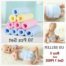10 Pcs 3 Layer Prefold Reusable Eco-Cotton Cloth Baby Infant