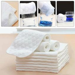 10Pcs Cotton Cloth Baby Diapers Insert Liners 3 Layers Reusa
