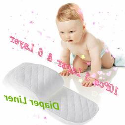 10x Cloth Cotton Baby Insert Nappy Liners 3/6 Layers Diapers