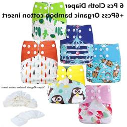 12 Pack Waterproof Reusable Pocket Cloth Diaper Set with Bam