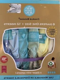 Charlie Banana 2-in-1, 6 Reusable Diapers & 12 Inserts, Unis