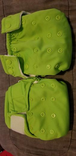 2 Bumkins lime green Pocket Diapers New without tags. Washed