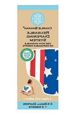 Charlie Banana 3 Diapers Plus 3 Inserts, Patriot, X-Small
