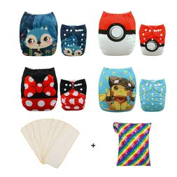4 Alva Baby Cloth Diapers One Size Reusable Pocket Nappies +