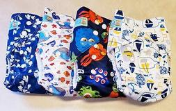 4 BRAND NEW all in one size adjustable snap cloth diapers wi