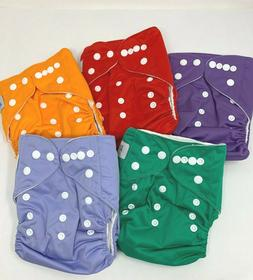 5 Cloth Diapers Reusable Washable Adjustable Microfiber Inse