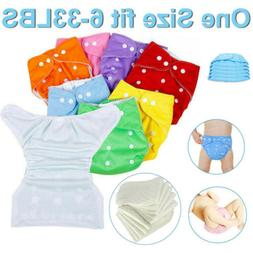 5 Diaper +5 Inserts Adjustable Reusable Lot Baby Washable Cl