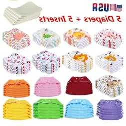 5 Diapers + 5 Inserts Adjustable Reusable Baby Washable Clot