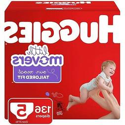 HUGGIES 50820 Little Movers Diapers, Size 5 Over 27 lb. 136