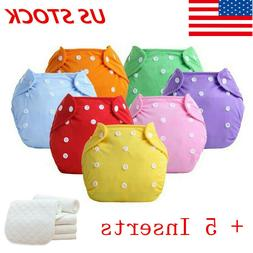 5PCS+5 Inserts Cloth Diapers Lot Nappies Adjustable Reusable