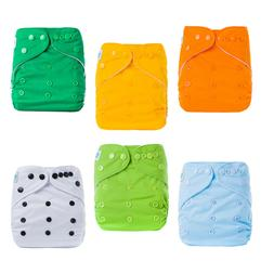 6 Baby Cloth Diapers One Size Adjustable Washable Reusable B