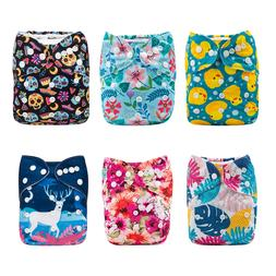 6 ALVA Cloth Diapers Lot One Size Reusable Washable Pocket N