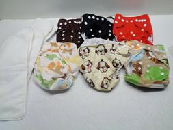 6 LBB Fitted Cloth Diapers and Liners - 2 are soft minky 3 s