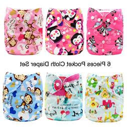 MABOJ 6 Pack Pocket Cloth Diapers One Size Baby Washable Reu