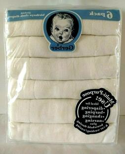 Gerber 6 Pack Prefold Birdseye Cloth White Diapers Multi-pur