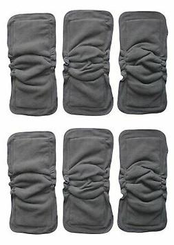 6 PC BAMBOO CHARCOAL GUSSETS INSERTS FOR BABY CLOTH DIAPERS