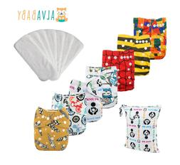 7pcs Alva Baby Cloth Diapers Reusable Washable Pocket Nappie