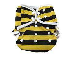 BB2 Baby One Size Printed White Gussets Snaps Cloth Diaper C