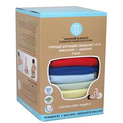 Charlie Banana 2-in-1 Reusable Diapers, Boy, 6 Diapers- One