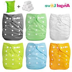 Cloth Diapers, Angel Love 6 Pack Diaper Covers+6 Diaper Inse