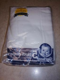 Gerber 5pk Prefold Premium 6-ply Cloth Diapers White