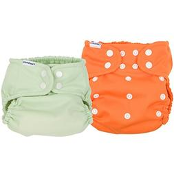 Gerber 2 Piece It's a Snap All-in-One Cloth Diaper, Orange/G