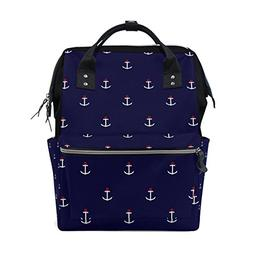 ALAZA Abstract Nautical Anchor Diaper Bags Mummy Backpack Mu