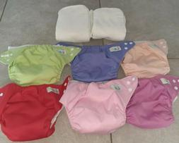 LBB Adjustable set of 6 snap cloth diapers with 9 inserts lo