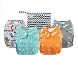 Anmababy 4 Pack Adjustable Size Waterproof Washable Pocket C