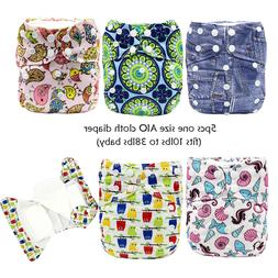 MABOJ AIO Cloth Diapers 5pcs One Size Waterproof Resuable Cl