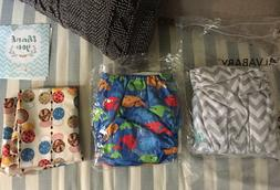 ALVA BABY Cloth All In One Diapers 2 w/ wet bag - whale patt