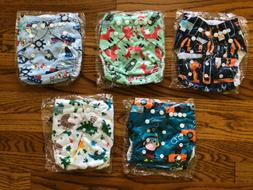 ALVA BABY Cloth Pocket Diapers Lot of 5, With NO Inserts