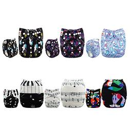 ALVABABY Baby Cloth Diapers 6 Pack with 12 Inserts Printed D