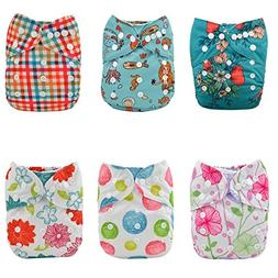 ALVABABY Cloth Diapers Girls Reuseable Washable Pocket One S