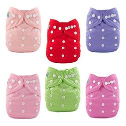 ALVABABY Baby Cloth Diapers 6 Pack with 12 Inserts Adjustabl