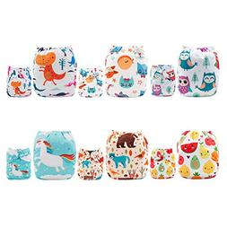 ALVABABY 6pcs Pack Pocket Washable Reusable Cloth Diaper wit