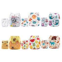 ALVABABY Reuseable Washable Pocket Cloth Diapers 6PCS + 12 I