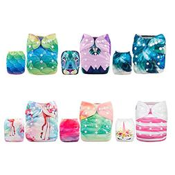 ALVABABY Reuseable Washable Pocket Cloth Diaper 6 Nappies +