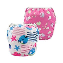 ALVABABY Swim Diapers 2pcs One Size Reusable & Adjustable Ba
