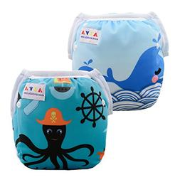 ALVABABY Swim Diapers Reusable Adjustable & Washalbe For Boy