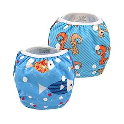 ALVABABY Baby Swim Diapers 2pcs Reuseable & Adjustable for S