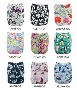 ALVABABY All-In-Ones Cloth Diapers Reusable Nappy Sewn-in 4-