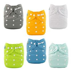 ALVABABY Baby Cloth Diapers One Size Adjustable Washable Reu
