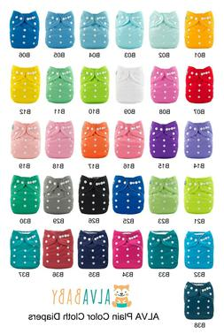 ALVABaby Cloth Diapers Adjustable Plain Reusable pocke Nappy