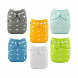 ALVA BABY Baby Cloth Diapers One Size Adjustable 6 Pack with