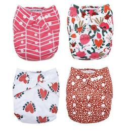 Baby Cloth Pocket Diapers 4 Pack 4 Bamboo Inserts Rouge & Ro