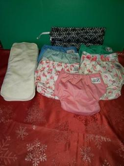 Baby Cloth Pocket Diapers 7 Pack 7 Bamboo Inserts 1 Wet Bag