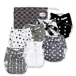 Baby Cloth Pocket Diapers 7 Pack, 7 Bamboo Inserts, 1 Wet Ba