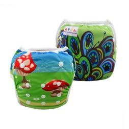 ALVABABY Girl Swim Diapers 2pcs One Size Reuseable Peacock a