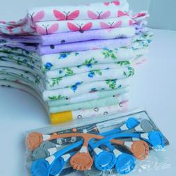 Baby Girls Cloth Diapers LOT OF 11+ Set of Diaper Clips, Fla
